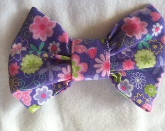 Purple Flowered Hair Bow