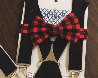 Suspender Set/Bow Tie,Bow Tie Set, Suspender/Bow Tie Set Red Buffalo Plaid