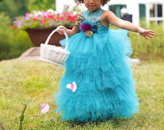 Flower Girl Dresses - Toddler Little Girls - Peacock Weddings - Full Length - Hand Layered Tulle - Handmade in Sizes 2T to 8 Years