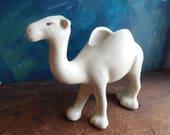 Camel planter, cream camel figurine, vintage ceramic animal, dromedary pottery, Brush McCoy pottery animal, Airplant container, camel statue