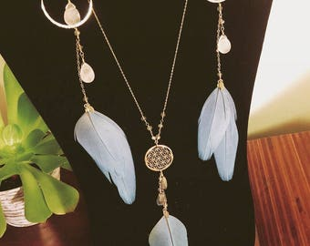 Goddess Adornments Flower of Life Necklace Rose Quartz and Labradorite Genstomes Cruelty Free Feather Macaw Earrings