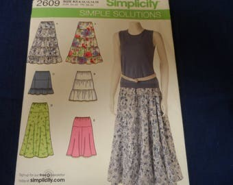Simplicity 2609 Misses Skirt Pattern Sizes 8-16
