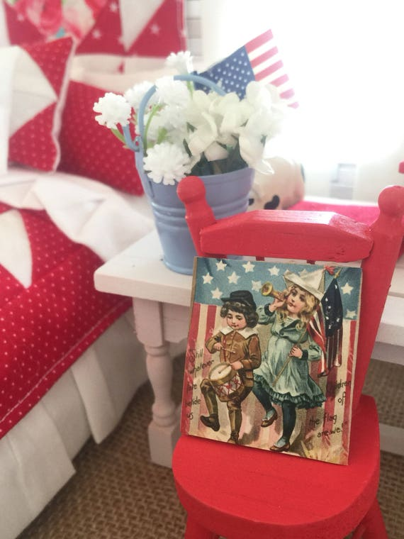 """Miniature Vintage American Patriotic Children Sign- dollhouse scale 1 1/2"""" x 1 1/2"""" wood backing"""