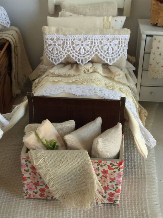Rustic Prairie Blanket Chest and Bed Throw and Pilliws- Miniature Dollhouse 1:12 scale
