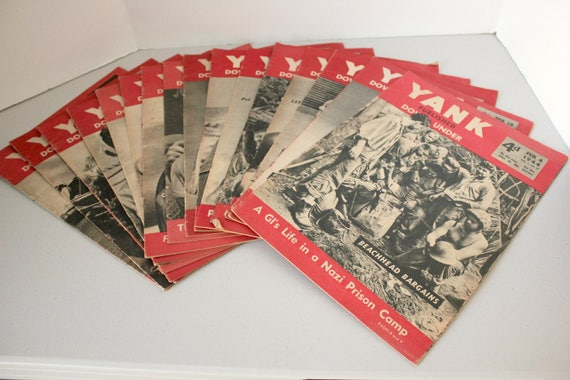 Lot of 16 Vintage Yank Magazines, WW2 The Army Weekly 1944 War Time Military