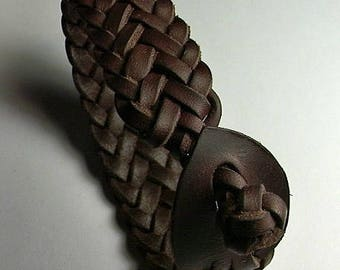 Leather plaited choker  - Herring Bone -  Spanish Leather - Large Anklet