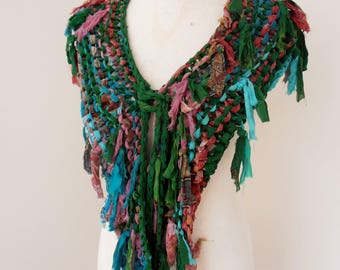recycled silk chiffon  tattered scarf dark bottle green pink,red, beige