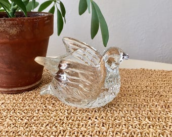 Glass Dove Candle Holder