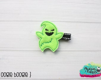 Halloween baby Hair Clippie { Oogie Boogie } nightmare before christmas, green ghost, scary Hair Clip, Barette,  Hair Bow No Slip