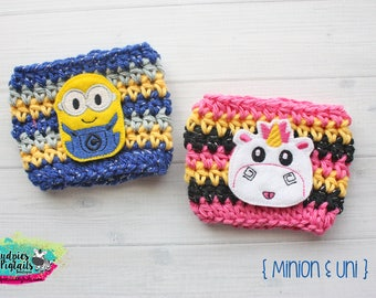Character Coffee Cup Cozy { Minion & Unicorn }  inspired, coffee lover, knit mug sweater summer, mug sweater starbucks cup, party favor
