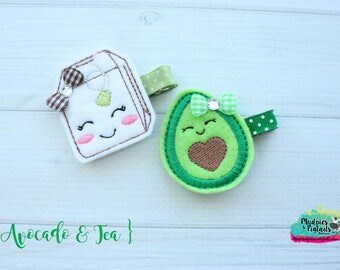 food Hair Clippie or paper clip { Avocado & Tea } asethetic, fresh, green, mommy daughter Hair Clip, Barette, Holiday Hair Bow No Slip