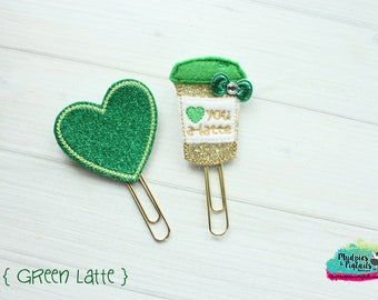 Planner Clip or Hair Clippie { Green Latte } st patrick's day, coffee cup, Paper Clips, Stationary, irish toddler hair bow Birthday