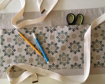 Utility Half Apron - Eco-Friendly Fabric - One of a Kind Hand-Printed Apron - Gardening Apron - Hemp Muslin