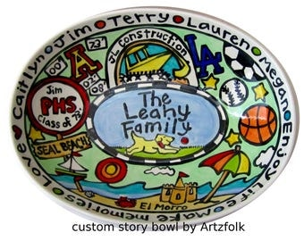 CUSTOM Family Deep Oval ceramic Serving Bowl Personalized great wedding or anniversary gift