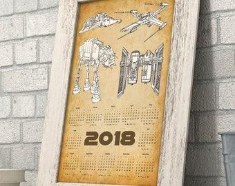 Star Wars - 2018 Calendar - 11x14 Unframed Calendar Art Print - Great Gift for Star Wars Fans