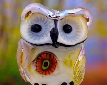 Iris..... lampwork owl bead............ sra