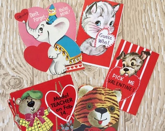 Set of 5 Vintage 1960s Valentine School Cards of Animals Set, Kitten, Puppy, Bear, Tiger, Elephant