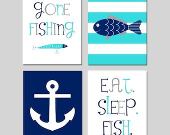 Fishing Nursery Decor Fish Nursery Art Fish Nursery Decor Set of 4 - Gone Fishing Quote - Anchor - Eat Sleep Fish Quote - CHOOSE YOUR COLORS