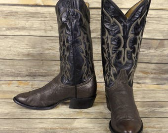 Tony Lama Cowboy Boots Two Tone Brown Leather Mens Size 7.5 D Country Western