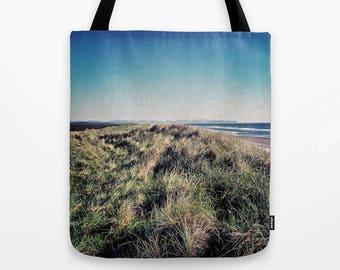 Beach Landscape Tote Bag, Ombre Sky Photo, Oregon Coast gifts, bluegreen ombre, northwest landscape, coastal style, surfing gift, sand dunes