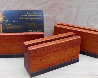 3 Mahogany Business Card Holders, Set of 3 Reclaimed Wood card holders, Office Desk accessory, Wooden Photo stand, natural finish