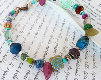 Beachy Ankle bracelet - Boho beaded anklet multi colors stone glass and crystals- ankle jewelry