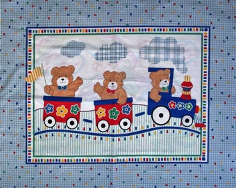 "100% Cotton Fabric Panel roughly 36"" x 45"" Baby Crib Quilt Blanket Wall Hanging Red White Blue Boys Girls Train Teddy Bears"