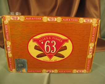 1950 ANTIQUE CIGAR BOX,Series 120 Alles and Fisher Boston Cigar box with Tarrif sticker Number 120,Antique Cigar box with Tax label 120