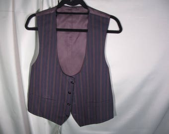 VINTAGE MENS VEST Wool and Satin like Fabric,Charcoal gray Small Mens Vest,Vintage Mens small sized vest with four bottons,two pockets
