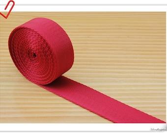 5 yards of 1 inch (25mm) Heavy weight Nylon webbing Red ZA74