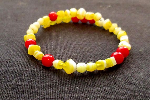 Yellow Red Planck constant sciart bracelet nerd jewelry physics teacher gift