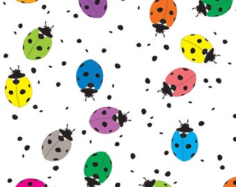 Ladybug Fabric - Ladybirds Rainbow By Ornaart - Ladybug Rainbow Kids Polka Dot Cotton Fabric By The Yard With Spoonflower