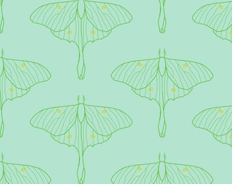 Luna Moth Fabric - Luna By Amber Morgan - Moth Simple Insect Wings Nature Teal Green Nocturnal Cotton Fabric By The Yard With Spoonflower