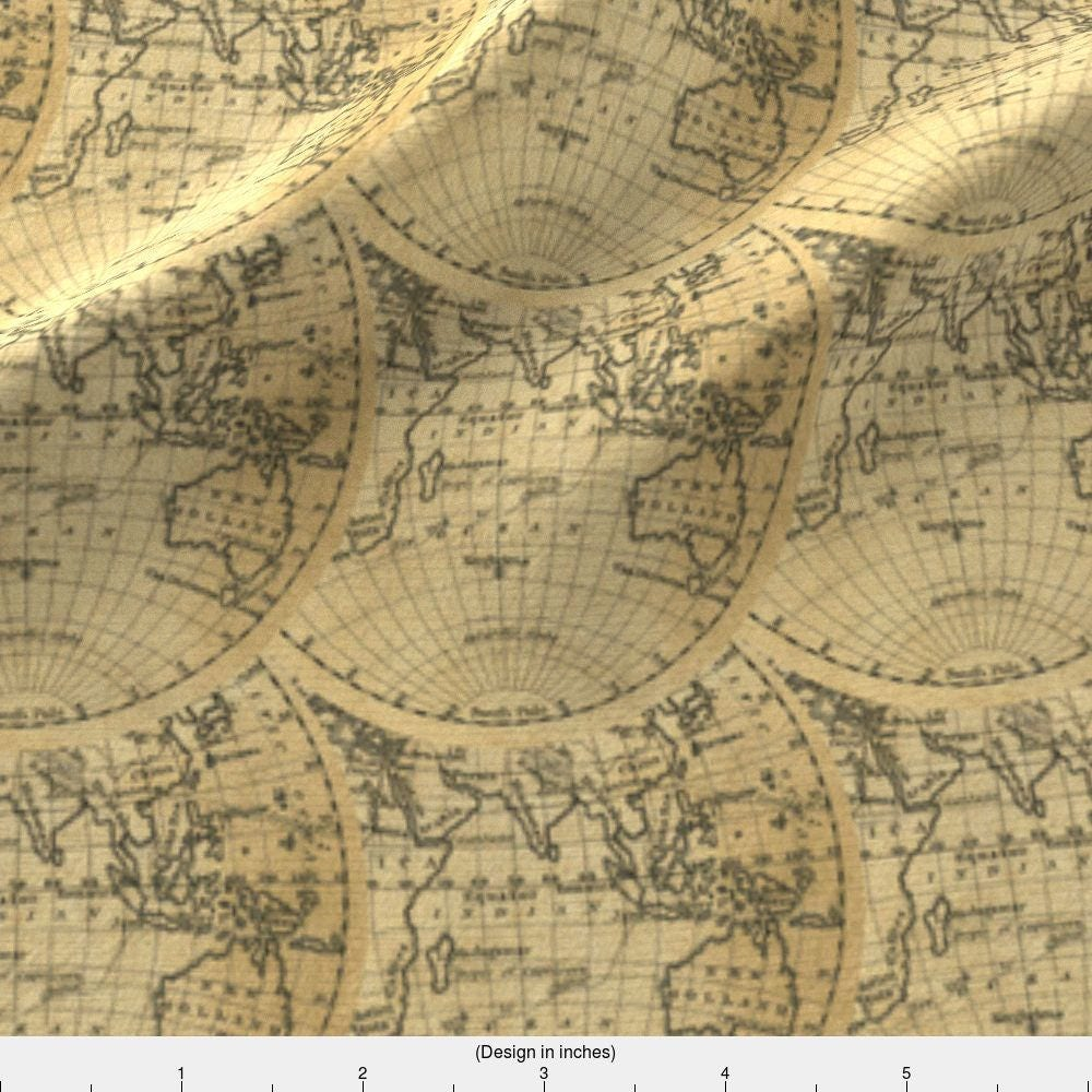 Vintage inspired world map fabric hemisphere world 1830 by 1050 gumiabroncs Gallery