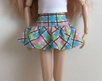 "Handmade Drop Waist Gathered Skirt fits dolls like Momoko, 12"" Pullip, Blythe, Skipper, Moxie Designs by P. D. Reneau (Q802)"