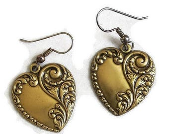 Heart Dangle Earrings Nouveau Style Stamped Floral Vintage
