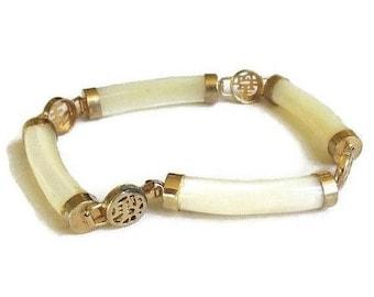 SALE White Jade Jadeite Bracelet Asian Symbols Vintage Link