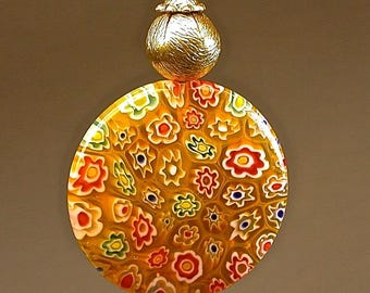 Vintage Chinese Yellow Orange Red MILLEFIORI Glass FAN PULL Large Bead ,Vintage Gold Plated Brass Bead,Gold Crystal,Gold Plated Bead Cap