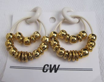 Gold Beads on White Rubber pr Non-pierced