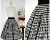PRE LOOKBOOK SALE - 1950s Vintage Skirt  - Fabulous Flocked Silver Brocade 50s Circle Skirt with Elastic Velvet Waistband