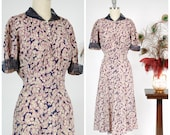 1930s Vintage Dress - Lovely 30s Silk Floral Day Dress in Pink, Cream and Navy Blue with Pintucked Organza Collar and Cuffs