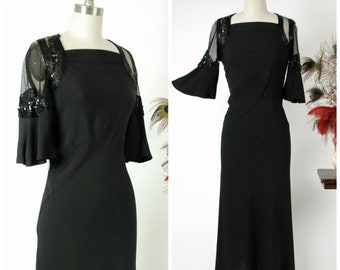 Vintage 1930s Dress -  Wicked Black Rayon Crepe And Sheer Net Angle Sleeved 30s Dress with Deco Beading and Sequins