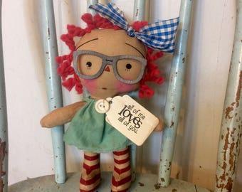 All of my Loves Raggedy Annie - Raggedy Ann Doll - Raggedy Annie - Ragdoll - primitive doll - Doll -
