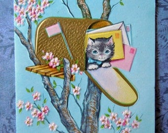 Vintage Gold Accents Kitten Cat in a Mailbox Greeting Card