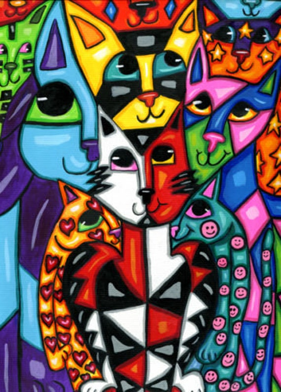 cat abstract art painting original modern cartoon animals acrylics hearts stars nursery kids room home decor wall picasso style artwork