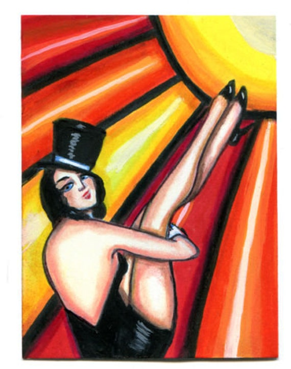 Show Girl pinup art original painting aceo ATC trading card miniature Artwork sun dancer flapper girl modern pop art Elizavella