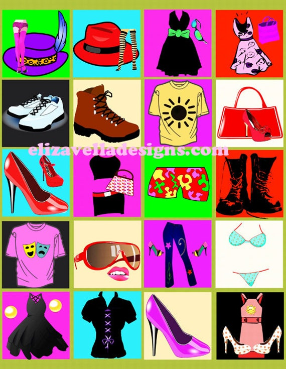 """fashion clothes hats shoes accessories clip art 2"""" inch squares digital download collage sheet images art craft jewelry printables"""