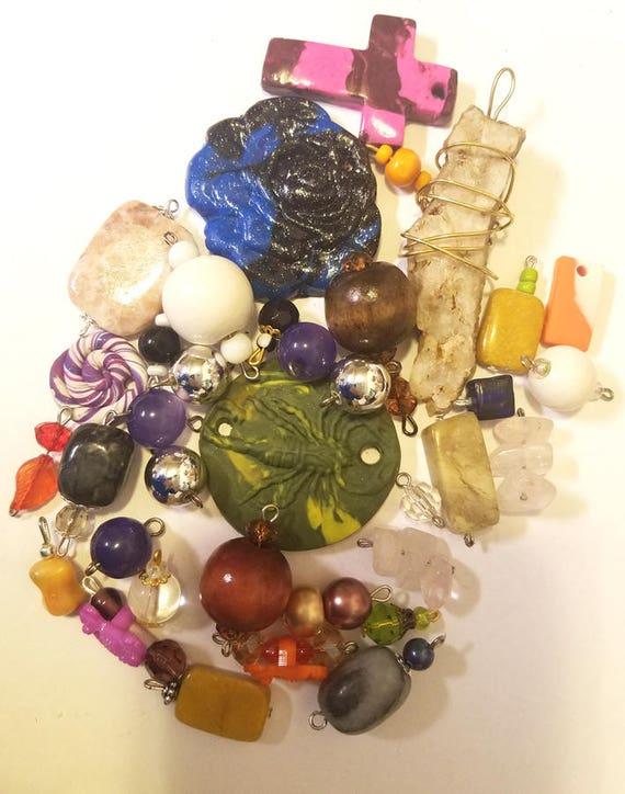 36 clay wood stone pendants bead drops charms mixed lot glass plastic beads jewelry craft supplies findings