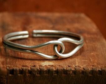 Sterling Silver Interlocking Double Cuff Bracelet