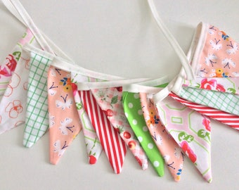 Small flag Bunting in peach pink green -14 small flags mix of small Fabric Garland, Decor for a shelf, Bike bunting, Birthdays, Photo Prop